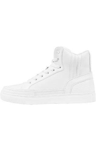Høj sneaker til unisex med lynlås i hvid