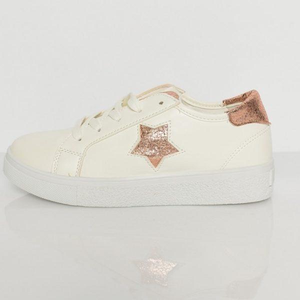 Irina sneakers med bronze guld stjerne hvide sneakers med bronze detaljer