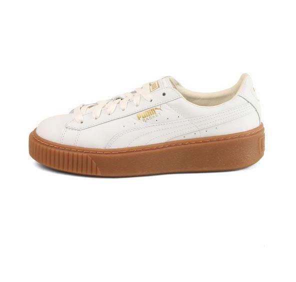 platforms sko i sneakers design med brun bund fra puma lave platformsko
